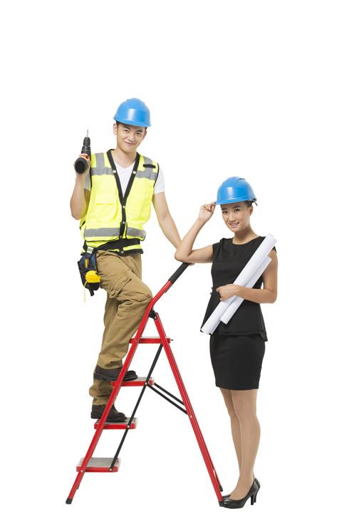 女建筑设计师和施工人员|优图佳视